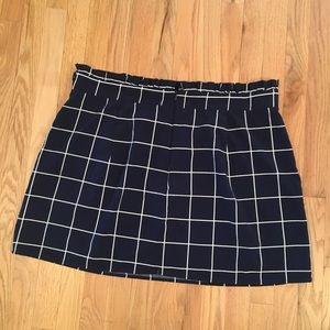 Navy windowpane pattern mini skirt 4XL